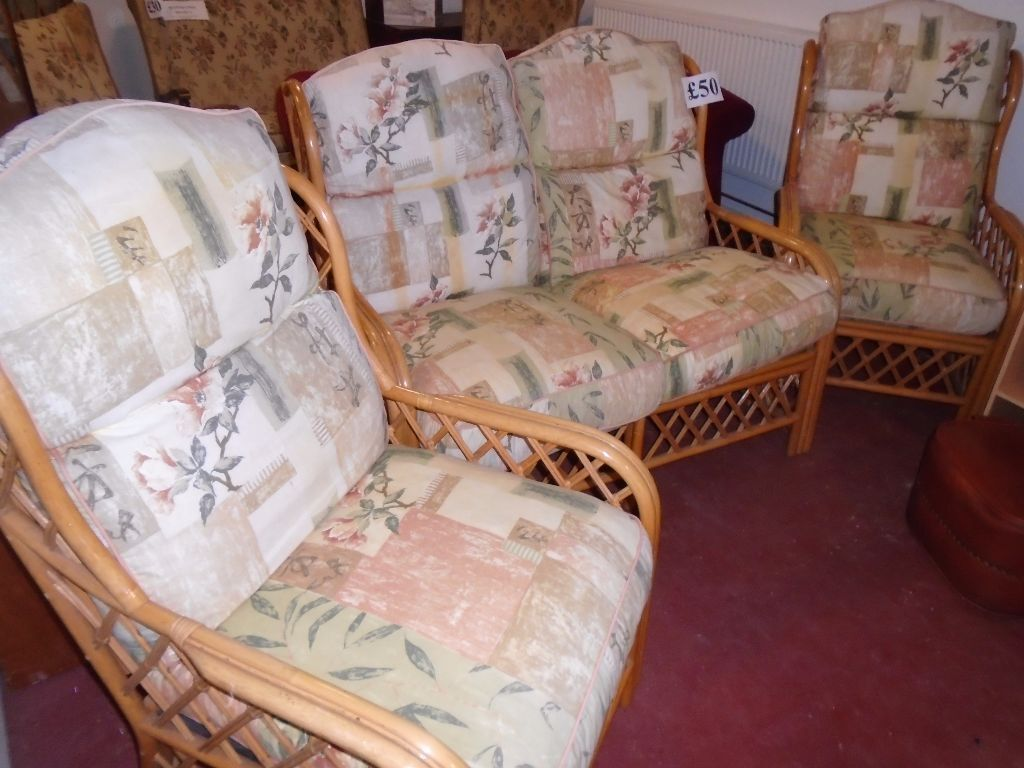 Retro Conservatory Set 2 Seater Sofa 2 Chairs Cane Furniture