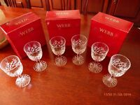 6 x Webbs Continental Grosvenor HAND CUT CRYSTAL GLASSES - In Original Boxes - Perfect Condition