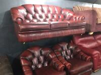 Quality chesterfield 3 11 leather sofa set