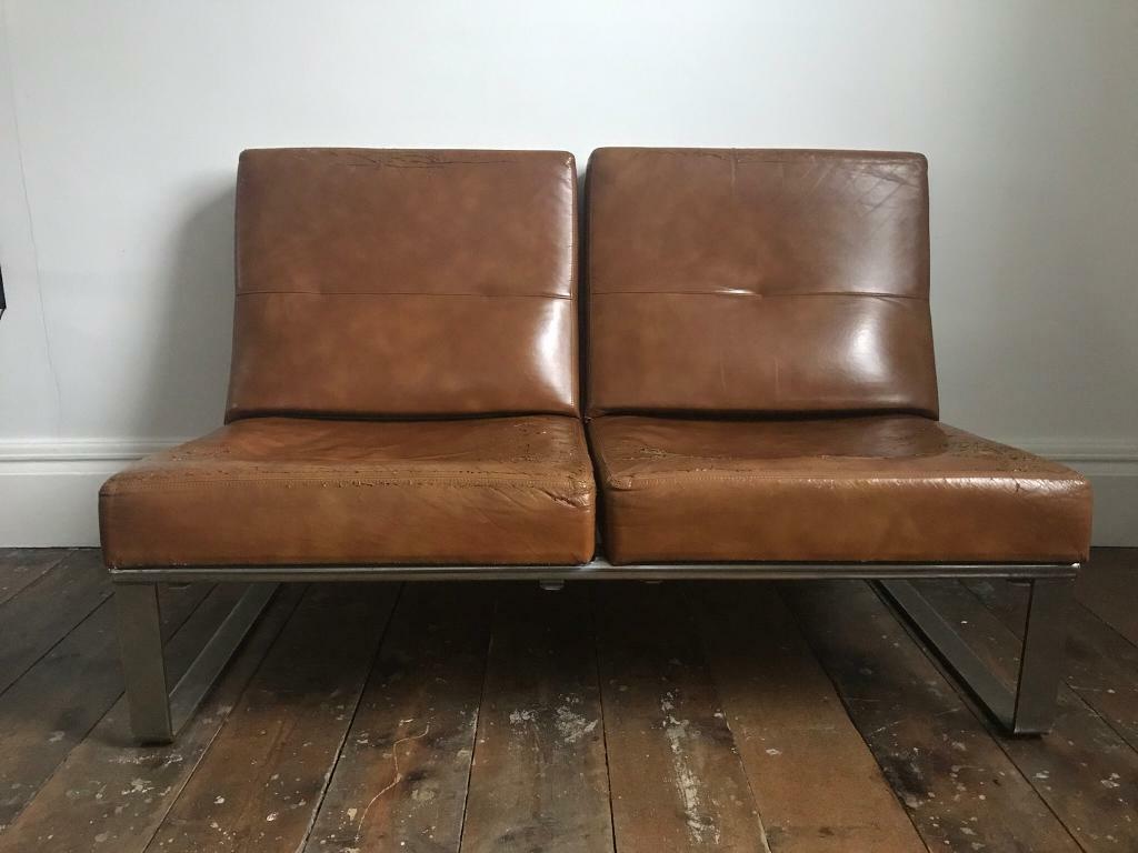 Vintage brown leather 2 seater sofa scandi danish modern bethnal green