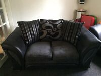 2 seater black and grey fabric sofa for sale