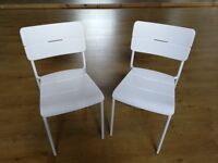 4x IKEA chairs, white. 2 NEW, 2 barely used. RRP £15 each
