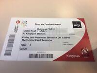 1 memorial end terrace ticket for Ulster vs Zebre Guinness Pro 12