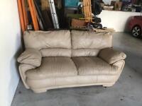Large Cream Leather Sofa & Chair