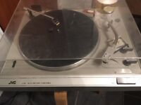 JVC RECORD DECK & DVD. Silver with remote control.