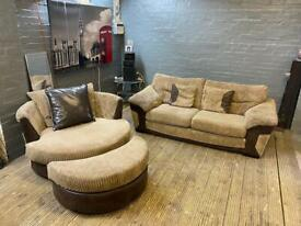 GORGEOUS FABRIC CUDDLE ARMCHAIR + SOFA IN EXCELLENT CONDITION