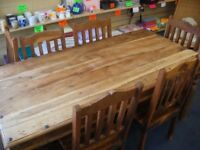 RUBBERWOOD TABLE AND 6 CHAIRS (PLUS ONE EXTRA)