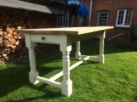 Pine 5' x3' dining table with 1 drawer and painted legs.