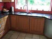 Kitchen in Light Oak Plus Oven/Gas Hob/M'wave-Oven/Integrated Fridge/Cooker Hood