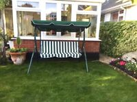 3 Seater Garden Swing Chair in green/white. EXCELLENT CONDITION.