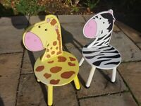 Zebra and Giraffe wooden childrens chairs.