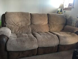 Recliner sofa and 2 chairs