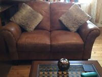 3 seater and 2 seater Italian leather sofa plus footstool