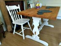 Solid pine country farmhouse dining table with 4 chairs - delivery available