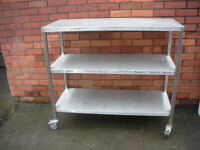 Stainless steel table with 2 shelves