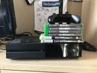 Xbox one console, pad, rechargeable battery packs and 4 games