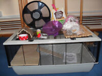 Grosvenor Large Hamster (Rat, Dwarf) Cage with Accessories (Wheel, Food, Dish)