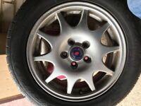 "3 Genuine Saab 16"" alloy wheels and tyres 5 Stud"