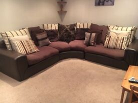Leather & fabric corner couch for sale