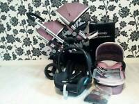 Redused! Icandy Peach 3 Double buggy Pram with Carrycot &MaxiCosi i candy