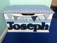 Boys personalised wooden toy box Joseph