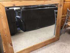 Large Mexican Pine Overmantel Mirror