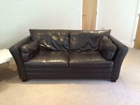 John Lewis Large (3-seater) Dark Chocolate Brown Leather Sofa x2