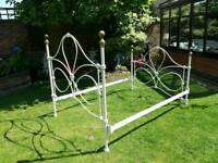 Victorian style cast metal and brass bed frame