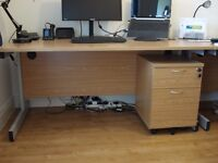 Office modular desk with metal legs and oak finish top with matching lockable mobile draws