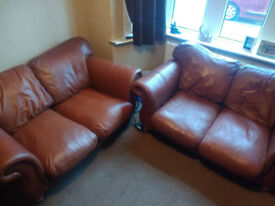 2x2 Str brown leather settees