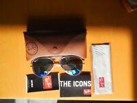 RayBan Aviator Sunglasses RB3025 - UNISEX - Gold frame / Green Glasses - V little use