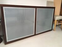 Ligne Roset Dark Wood Side Board with Frosted Glass Doors
