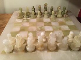 Onyx chess board and pieces