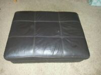 LARGE LEATHER FOOTSTOOL WITH STORAGE.