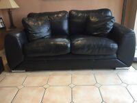John Lewis Black Leather Sofa