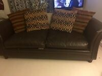PAIR OF REAL LEATHER SOFAS A TWO SEATER AND THREE SEATER £550 FOR PAIR TOGETHER COMES WITH PILLOWS