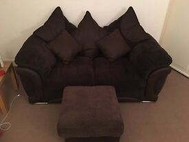 2 SEATER BROWN CORD SOFA AND FOOTSTOOL