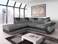*14-DAY MONEY BACK GUARANTEE!** Dino Itailan Jumbo Cord Fabric Corner Sofa Suite SAME DAY DELIVERY!