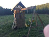 Wooden climbing frame & slide swing set