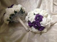 Purple adult size bridesmaids Bouquets