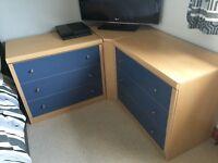 Bedroom units 3 drawer chest x 2, desk with 3 drawer pedestal, corner storage unit.