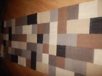 NEXT WOOL Knotted WOVEN KILIM RUG Runner SQUARE CREAM Contemporary MODERN Large