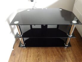 TV STAND - SMOKED GLASS CORNER UNIT - 2 SHELVES PLUS TOP - EXCELLENT CONDITION