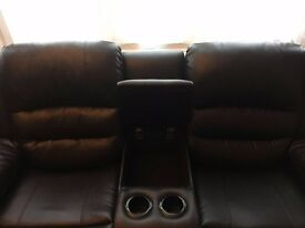 2-seater recliner brown leather sofa