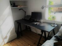 Large solid worktop desk with trestles for sale