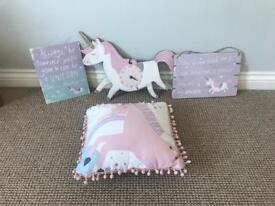 Girls bedroom accessories - unicorn