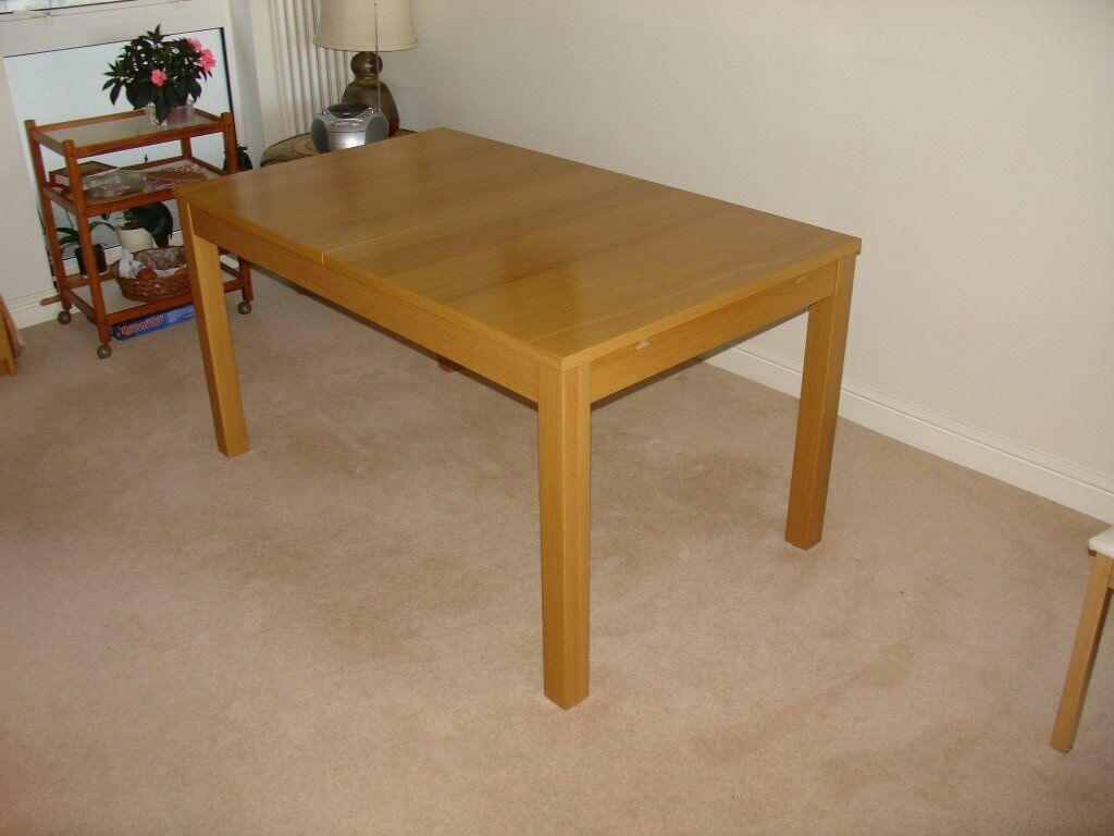 Ikea bjursta oak veneer extending dining table in bath somerset gumtree - Oak veneer dining table ...