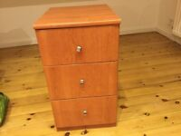 BEDSIDE TABLE CHEST OF DRAWERS, CHERRY BROWN