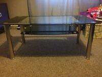Black glass coffee table/tv stand
