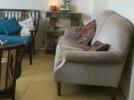 Small velvet 2-seater sofa, beige/grey in colour